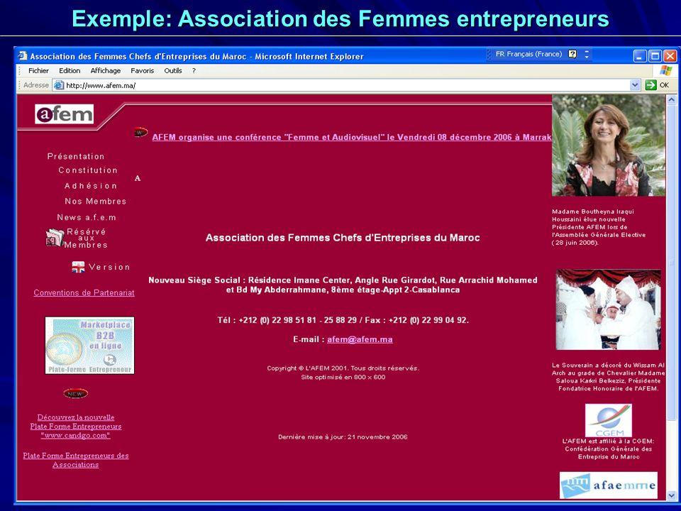 24 Exemple: Association des Femmes entrepreneurs