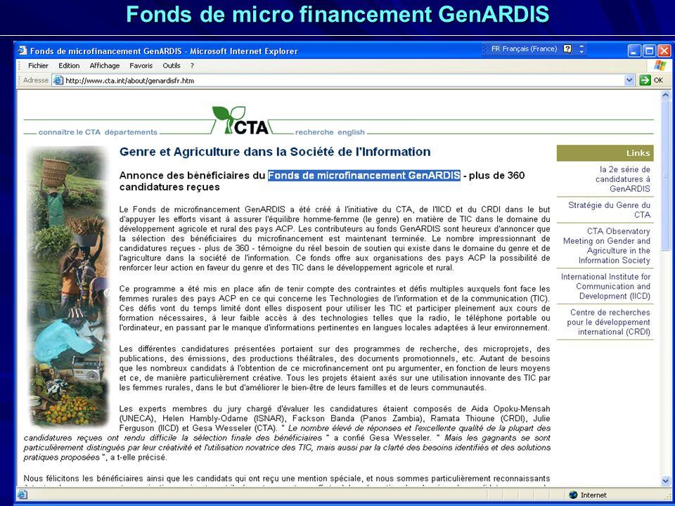 25 Fonds de micro financement GenARDIS