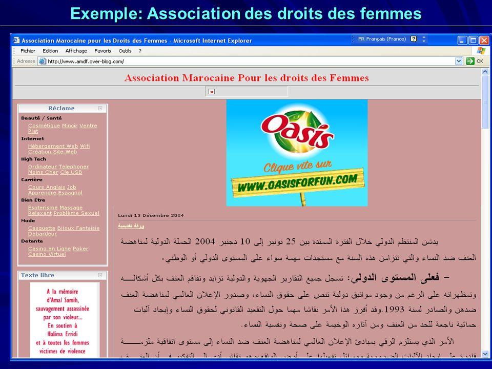 28 Exemple: Association des droits des femmes