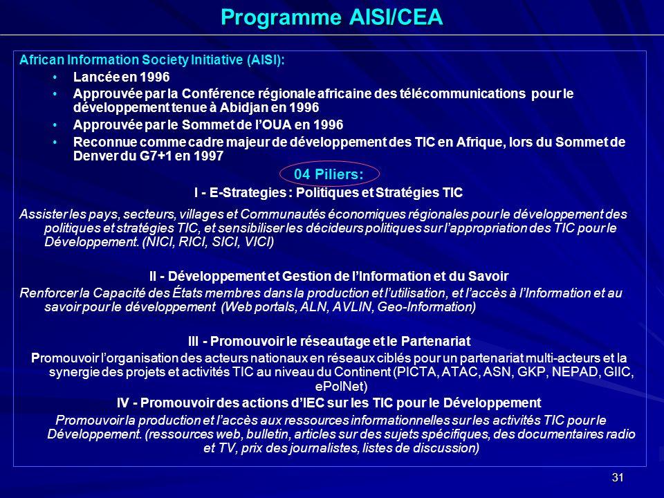 31 African Information Society Initiative (AISI): Lancée en 1996 Approuvée par la Conférence régionale africaine des télécommunications pour le dévelo