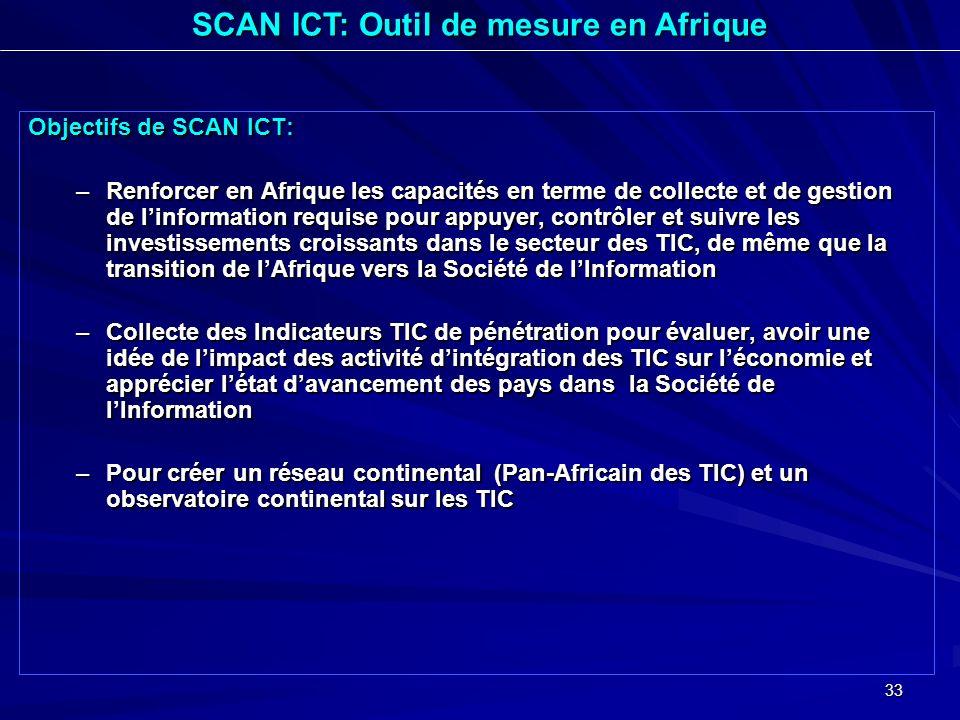 33 Objectifs de SCAN ICT: –Renforcer en Afrique les capacités en terme de collecte et de gestion de linformation requise pour appuyer, contrôler et su