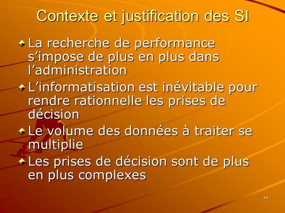 11 Contexte et justification des SI La recherche de performance simpose de plus en plus dans ladministration Linformatisation est inévitable pour rendre rationnelle les prises de décision Le volume des données à traiter se multiplie Les prises de décision sont de plus en plus complexes