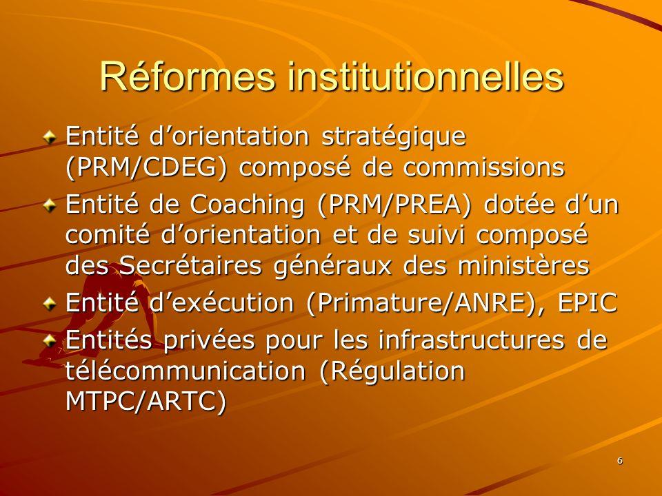 6 Réformes institutionnelles Entité dorientation stratégique (PRM/CDEG) composé de commissions Entité de Coaching (PRM/PREA) dotée dun comité dorientation et de suivi composé des Secrétaires généraux des ministères Entité dexécution (Primature/ANRE), EPIC Entités privées pour les infrastructures de télécommunication (Régulation MTPC/ARTC)