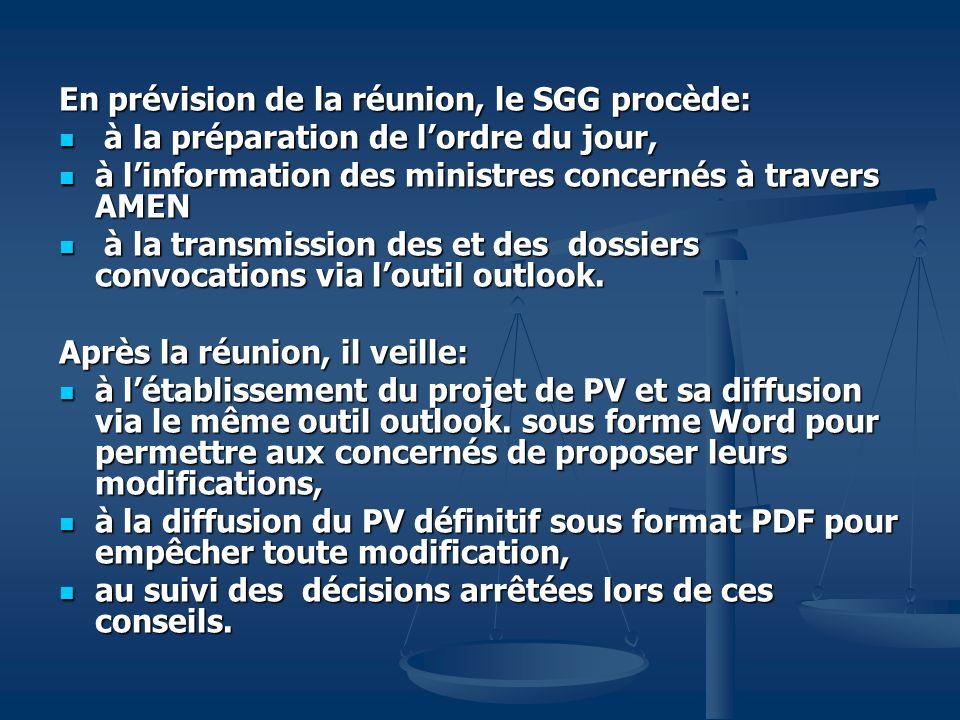 En prévision de la réunion, le SGG procède: à la préparation de lordre du jour, à la préparation de lordre du jour, à linformation des ministres conce