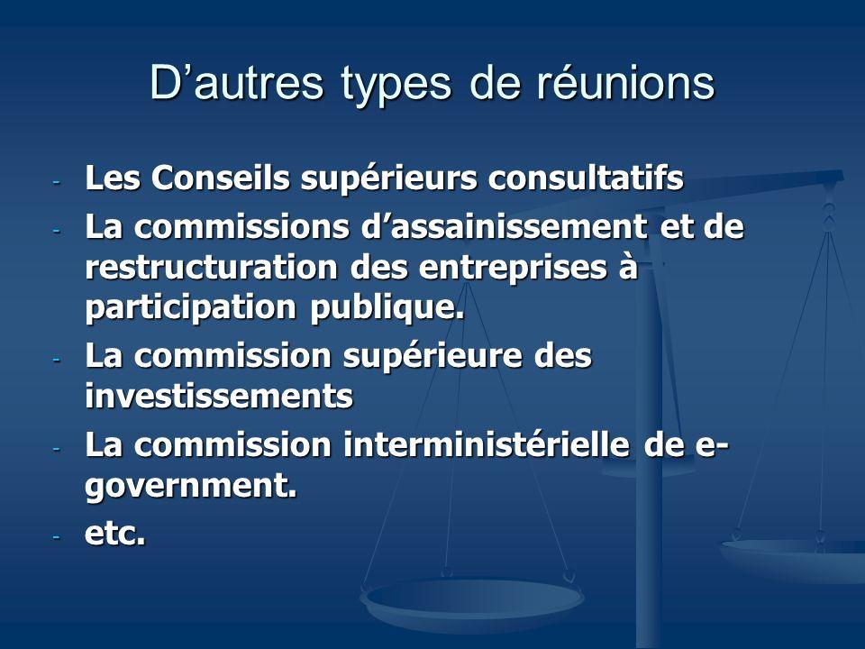 Dautres types de réunions - Les Conseils supérieurs consultatifs - La commissions dassainissement et de restructuration des entreprises à participatio