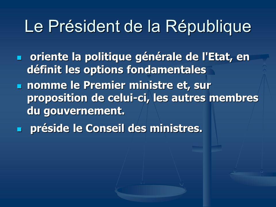 oriente la politique générale de l'Etat, en définit les options fondamentales oriente la politique générale de l'Etat, en définit les options fondamen