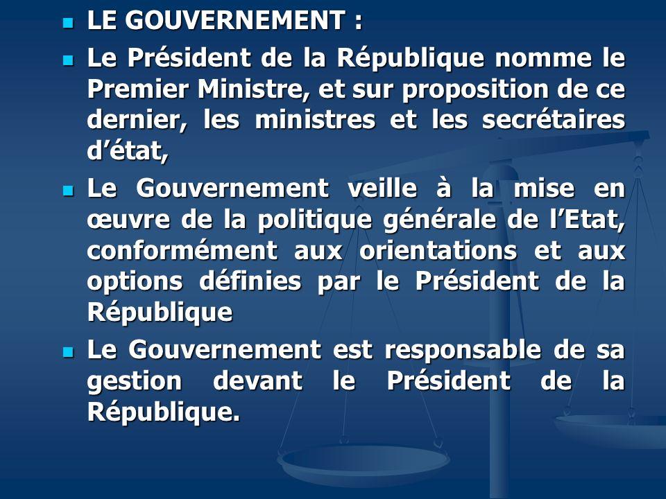 LE GOUVERNEMENT : LE GOUVERNEMENT : Le Président de la République nomme le Premier Ministre, et sur proposition de ce dernier, les ministres et les se