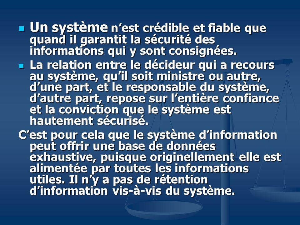 Un système nest crédible et fiable que quand il garantit la sécurité des informations qui y sont consignées.