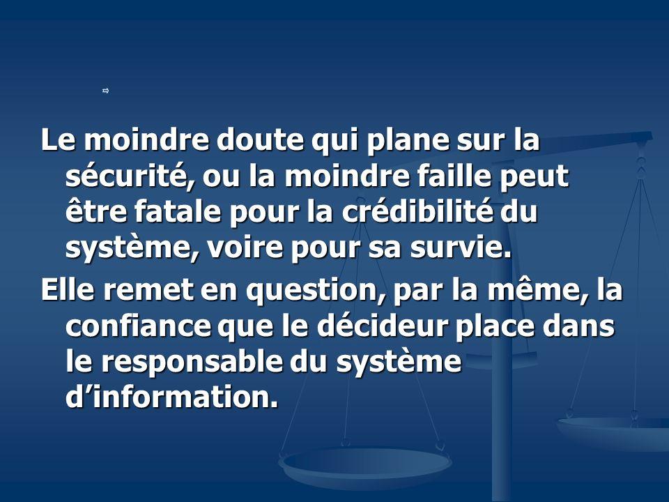 Le moindre doute qui plane sur la sécurité, ou la moindre faille peut être fatale pour la crédibilité du système, voire pour sa survie.