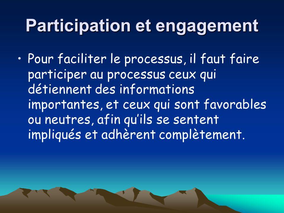 Participation et engagement Pour faciliter le processus, il faut faire participer au processus ceux qui détiennent des informations importantes, et ceux qui sont favorables ou neutres, afin quils se sentent impliqués et adhèrent complètement.