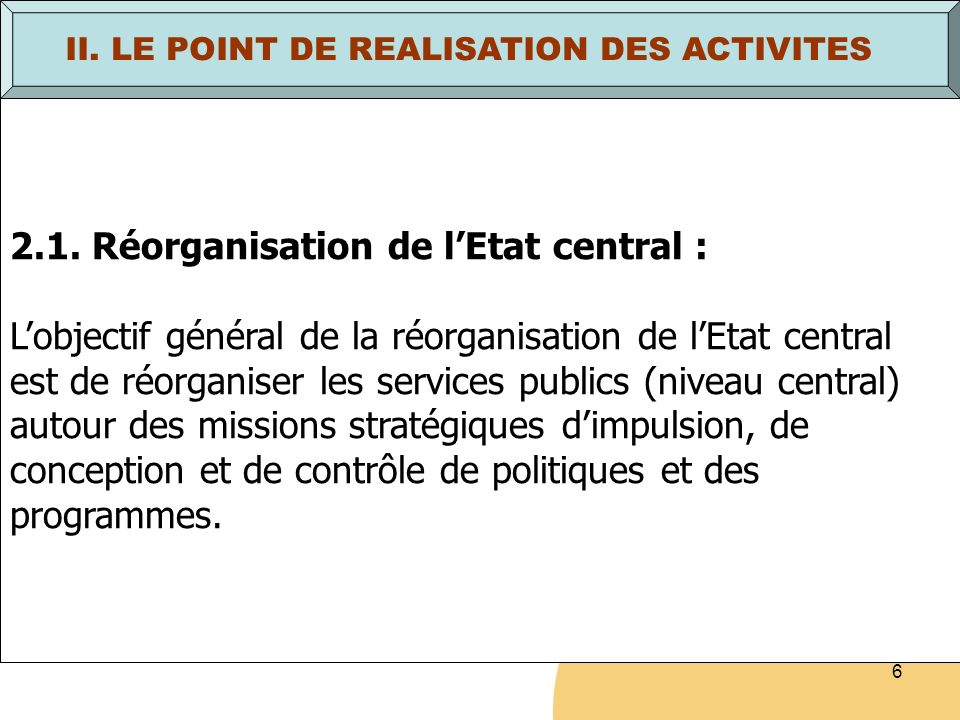 17 II.LE POINT DE REALISATION DES ACTIVITES (suite) b.