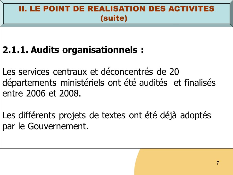 8 II.LE POINT DE REALISATION DES ACTIVITES (suite) 2.1.2.