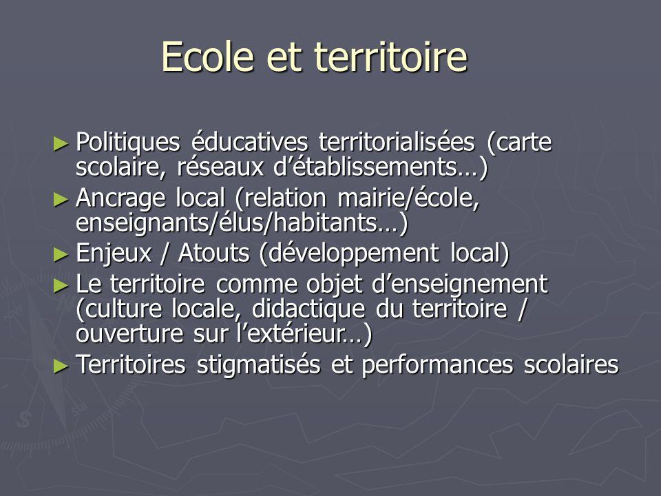Ecole et territoire Politiques éducatives territorialisées (carte scolaire, réseaux détablissements…) Politiques éducatives territorialisées (carte sc