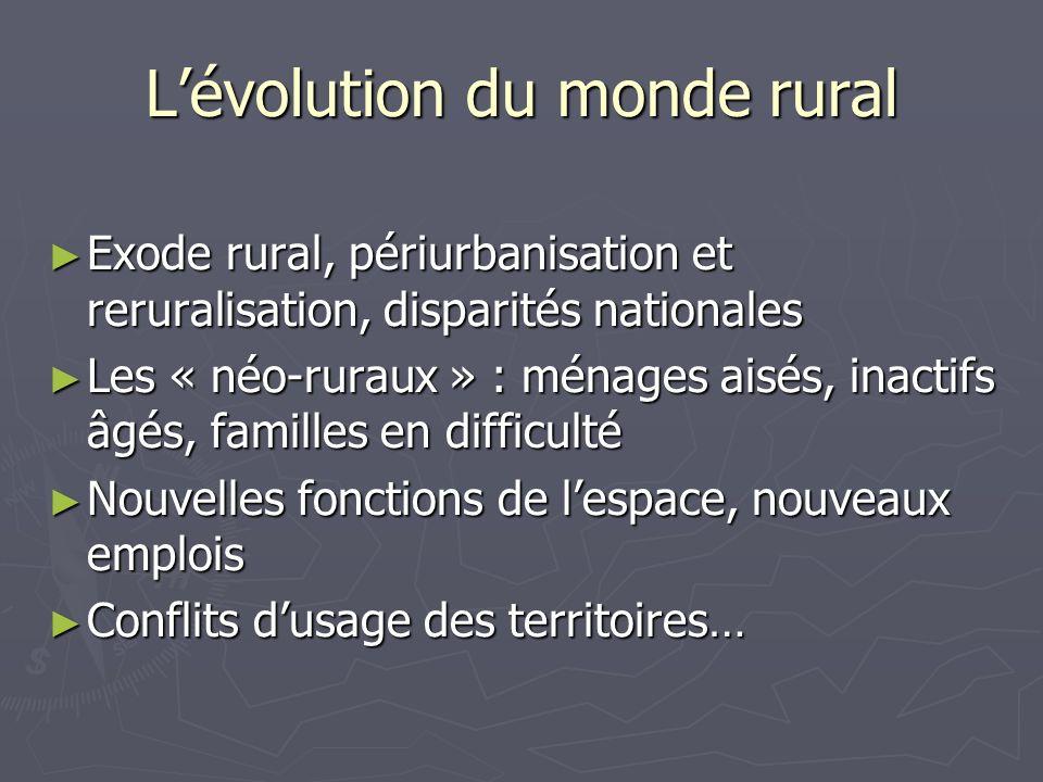 Lévolution du monde rural Exode rural, périurbanisation et reruralisation, disparités nationales Exode rural, périurbanisation et reruralisation, disp