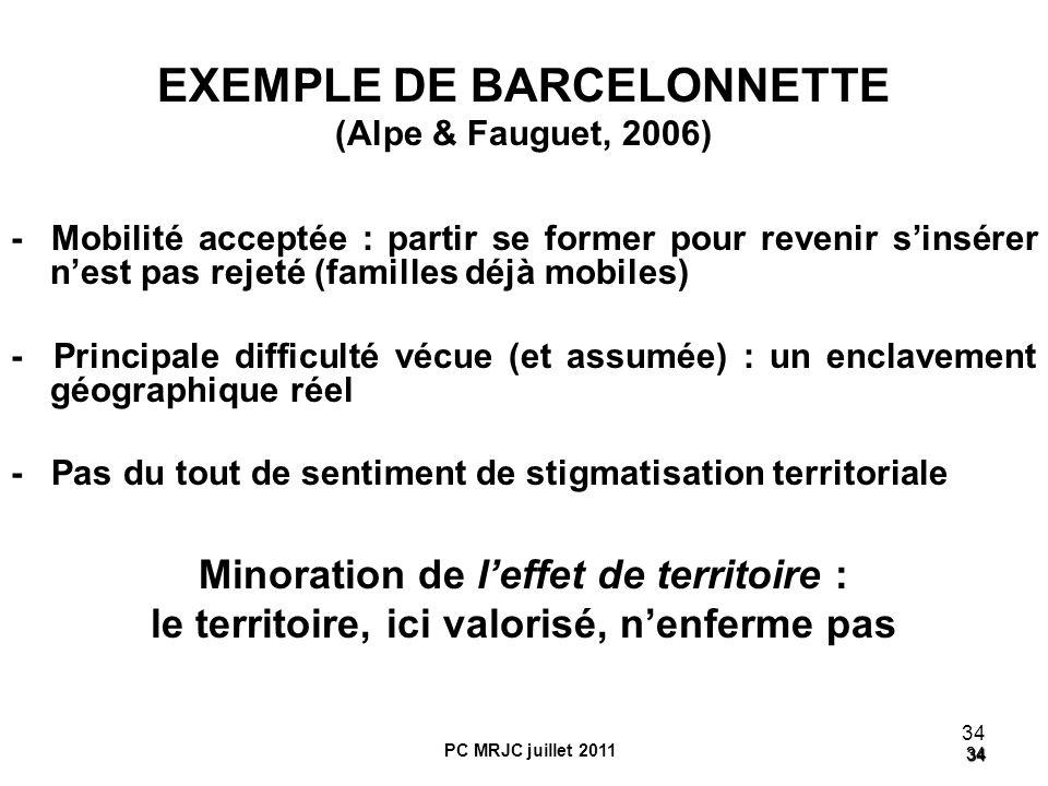 34 34 34 PC MRJC juillet 2011 EXEMPLE DE BARCELONNETTE (Alpe & Fauguet, 2006) - Mobilité acceptée : partir se former pour revenir sinsérer nest pas re