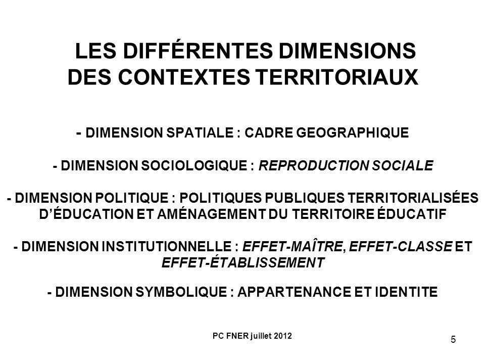 6 POIDS APPROXIMATIF DES INFLUENCES RESPECTIVES DES DIFFERENTES DIMENSIONS TERRITORIALES (EN MILIEU RURAL MONTAGNARD) - Contextes sociologiques : au moins 50% de la variance expliquée ou inertie - Contextes institutionnels et politiques : 30% environ - Contextes territoriaux : pas plus de 15% PC FNER juillet 2012