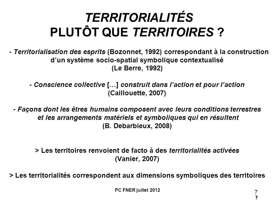 7 7 TERRITORIALITÉS PLUTÔT QUE TERRITOIRES ? - Territorialisation des esprits (Bozonnet, 1992) correspondant à la construction dun système socio-spati
