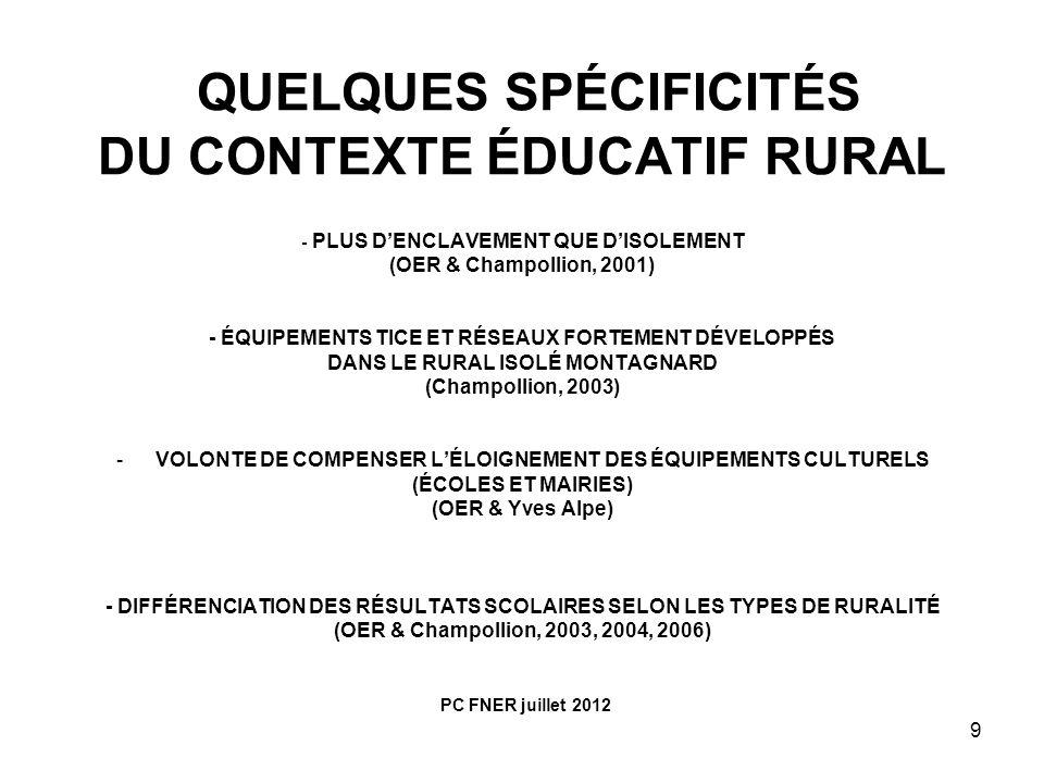 9 QUELQUES SPÉCIFICITÉS DU CONTEXTE ÉDUCATIF RURAL - PLUS DENCLAVEMENT QUE DISOLEMENT (OER & Champollion, 2001) - ÉQUIPEMENTS TICE ET RÉSEAUX FORTEMEN