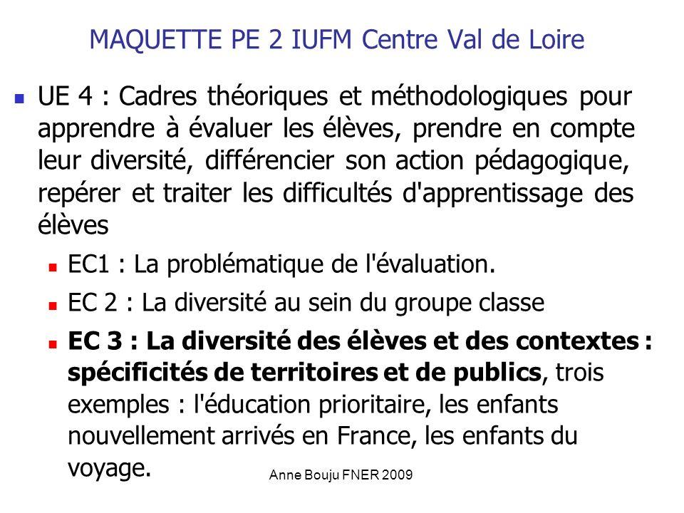 Anne Bouju FNER 2009 MAQUETTE PE 2 IUFM Centre Val de Loire UE 4 : Cadres théoriques et méthodologiques pour apprendre à évaluer les élèves, prendre en compte leur diversité, différencier son action pédagogique, repérer et traiter les difficultés d apprentissage des élèves EC1 : La problématique de l évaluation.