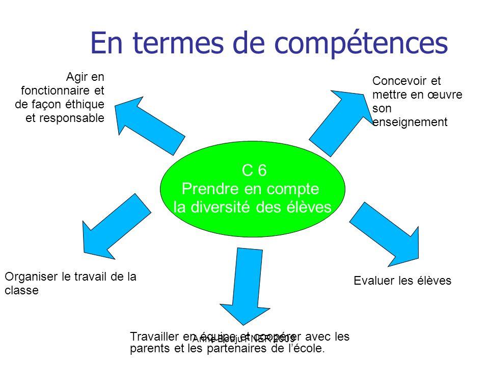 Anne Bouju FNER 2009 En termes de compétences C 6 Prendre en compte la diversité des élèves Agir en fonctionnaire et de façon éthique et responsable C