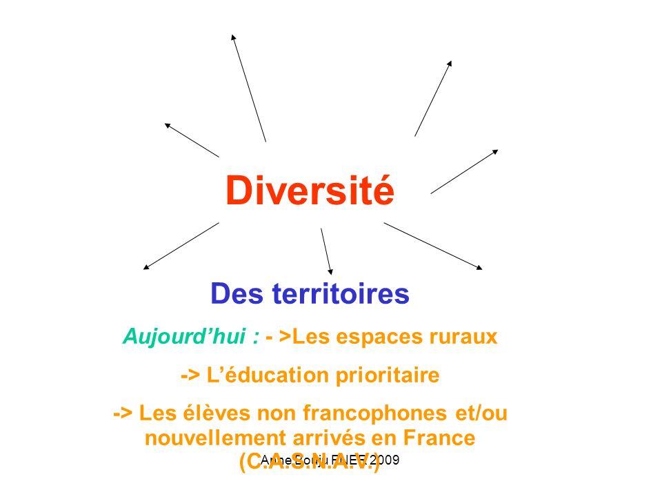 Anne Bouju FNER 2009 Diversité Des territoires Aujourdhui : - >Les espaces ruraux -> Léducation prioritaire -> Les élèves non francophones et/ou nouvellement arrivés en France (C.A.S.N.A.V.) Les écoles