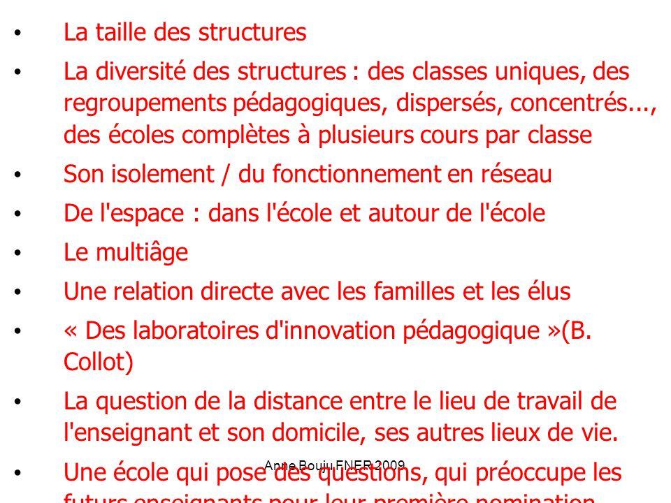 Anne Bouju FNER 2009 La taille des structures La diversité des structures : des classes uniques, des regroupements pédagogiques, dispersés, concentrés