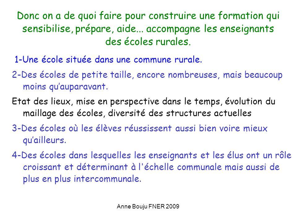 Anne Bouju FNER 2009 Donc on a de quoi faire pour construire une formation qui sensibilise, prépare, aide... accompagne les enseignants des écoles rur