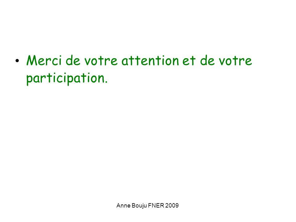 Anne Bouju FNER 2009 Merci de votre attention et de votre participation.