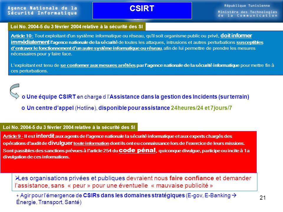 20 Assistance pour la Gestion des Incidents Équipe CSIRT (Computer Security Incident Response Team)