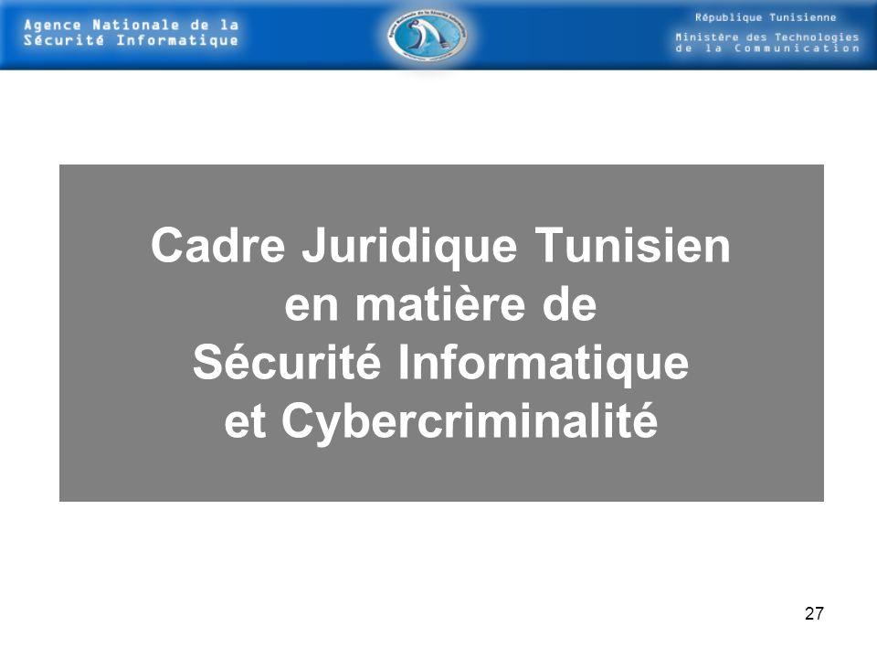 26 - Réalisation denquêtes Nationales concernant la Sécurité Informatique Une Enquête Nationale Électronique a été effectuée vers la fin 2003 (mettre