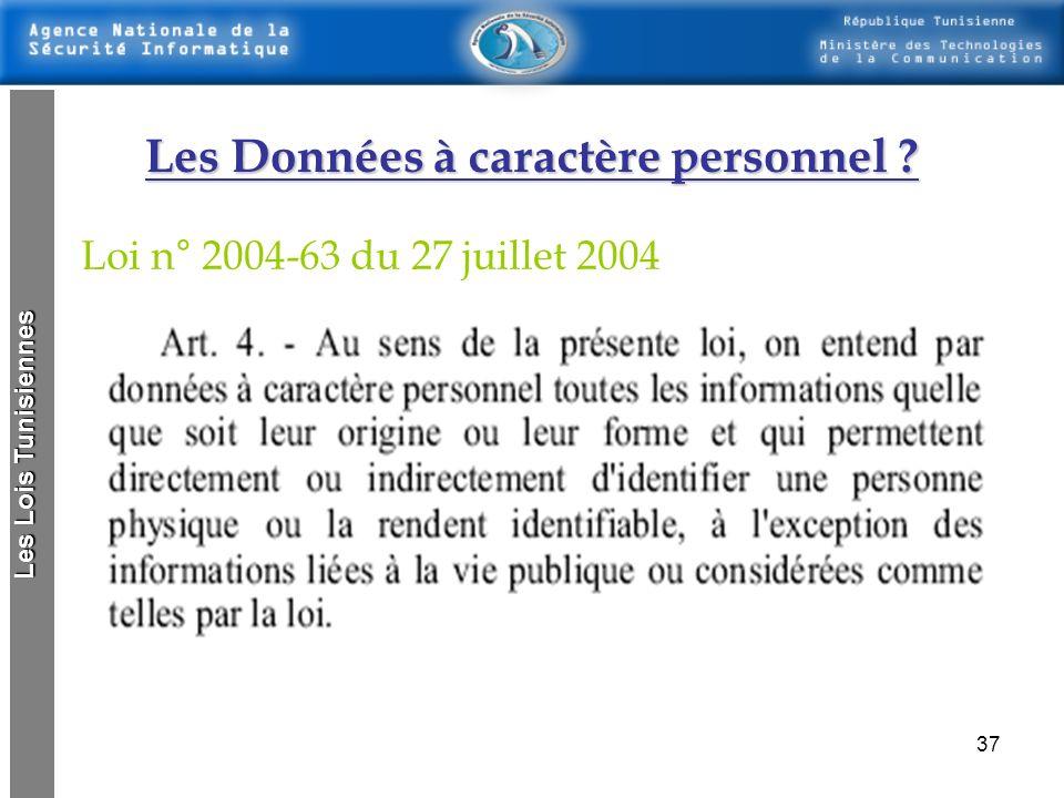 36 Cette loi spécifie : 1.Les dispositions générales concernant la protection des données à caractère personnel 2.Les conditions de traitement des don