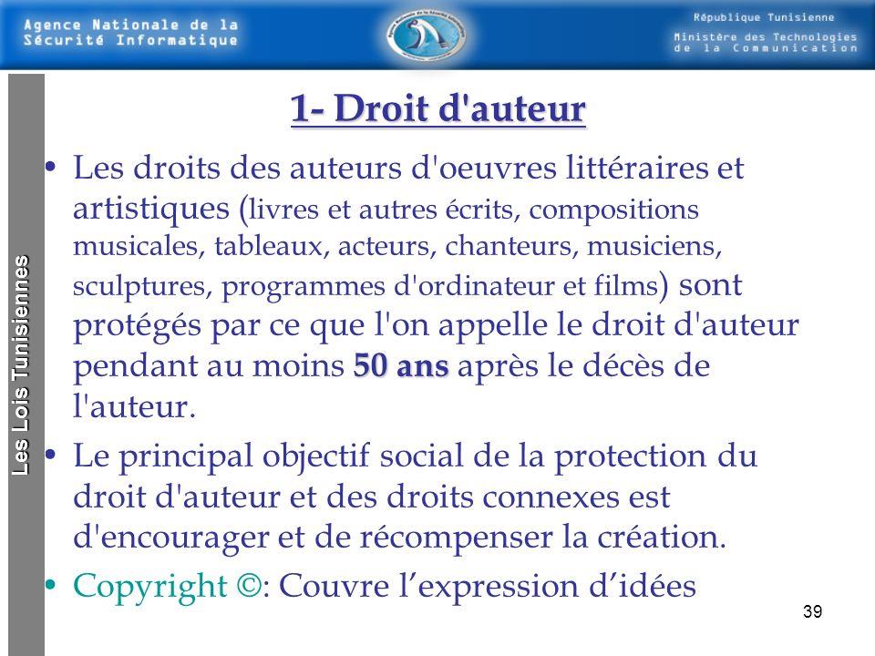 38 Lois concernant le respect de la propriété intellectuelle Les droits de propriété intellectuelle sont les droits conférés à l'individu par une créa