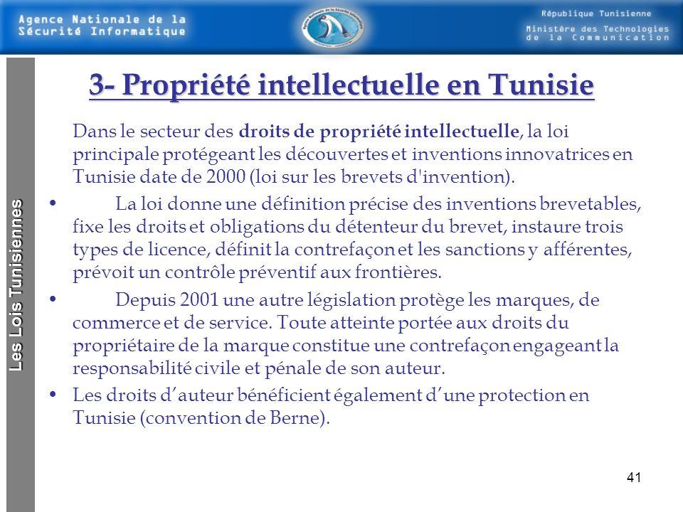 40 2- Propriété industrielle 2- Propriété industrielle La propriété industrielle englobe deux grands domaines : La protection des signes distinctifs,