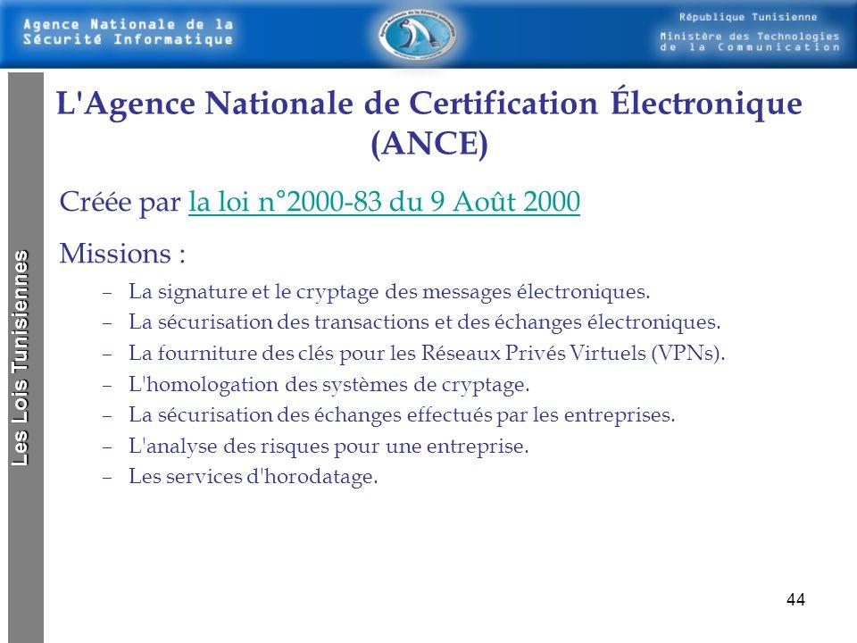 43 Loi concernant la certification Electronique loi n° 83-2000 du 9 août 2000, relative aux échanges et au commerce électroniques يتمثل الإمضاء في وضع