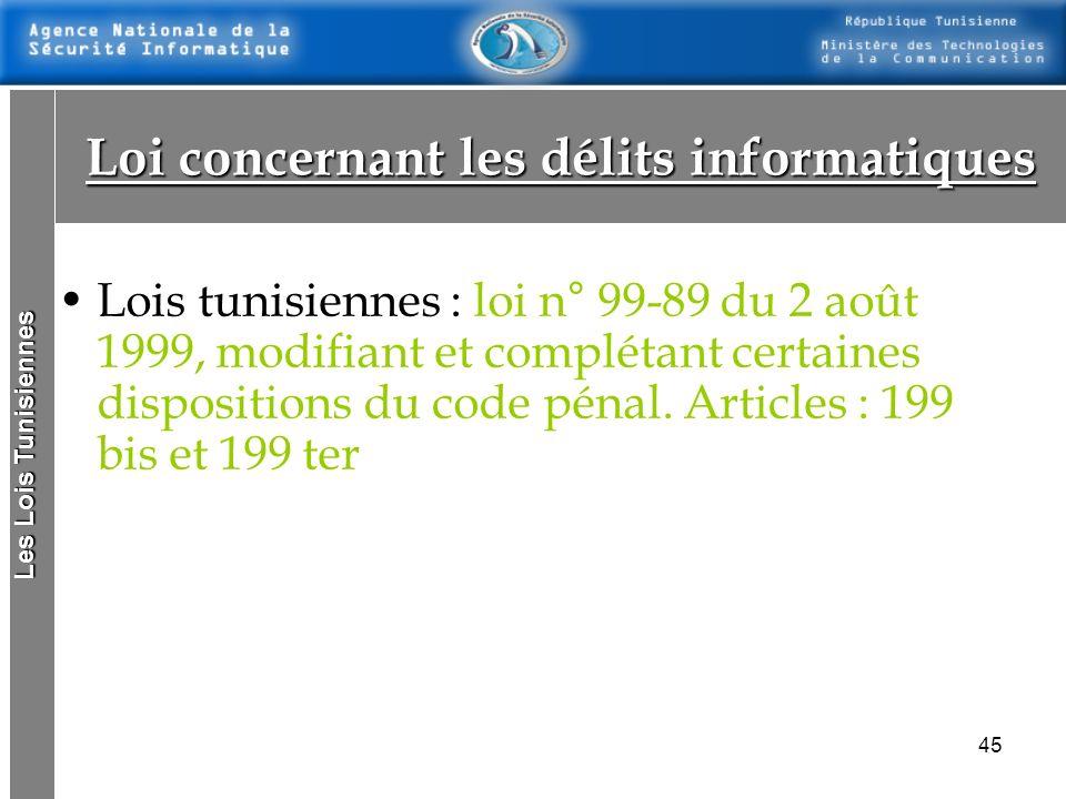 44 Créée par la loi n°2000-83 du 9 Août 2000la loi n°2000-83 du 9 Août 2000 Missions : –La signature et le cryptage des messages électroniques. –La sé
