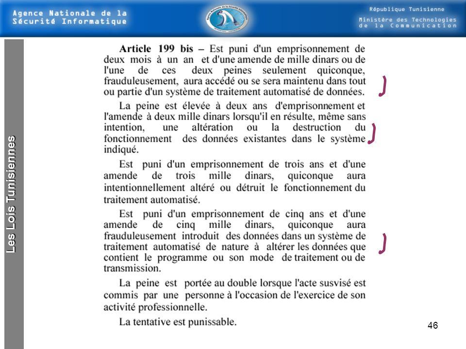 45 Loi concernant les délits informatiques Lois tunisiennes : loi n° 99-89 du 2 août 1999, modifiant et complétant certaines dispositions du code péna