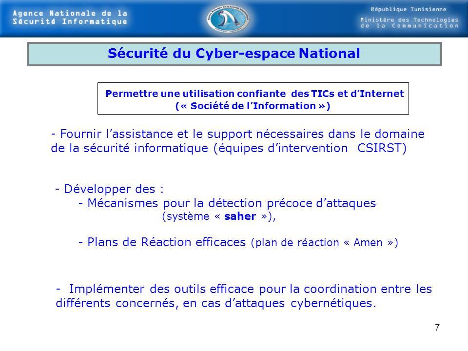 6 Sécurité des Systèmes dInformation Nationaux Instruire des règles pour assurer une amélioration sécurisée et progressive de la sécurité de SI et le