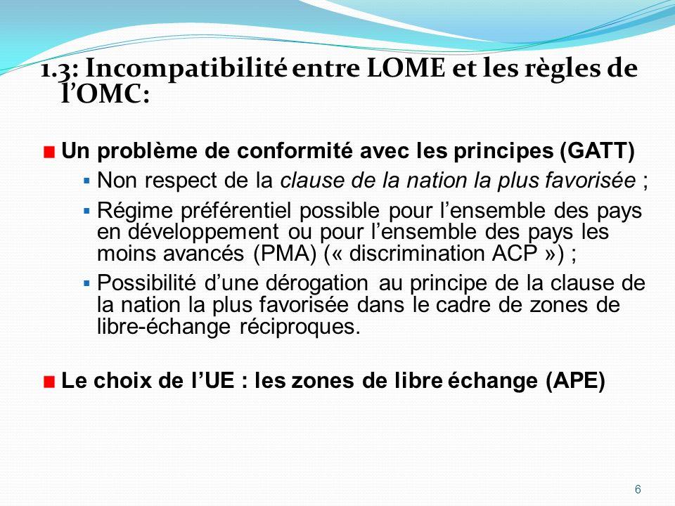 1.3: Incompatibilité entre LOME et les règles de lOMC: Un problème de conformité avec les principes (GATT) Non respect de la clause de la nation la pl