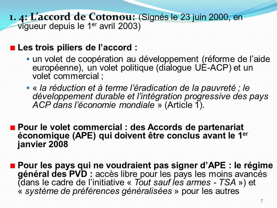 1. 4: Laccord de Cotonou: ( Signés le 23 juin 2000, en vigueur depuis le 1 er avril 2003) Les trois piliers de laccord : un volet de coopération au dé