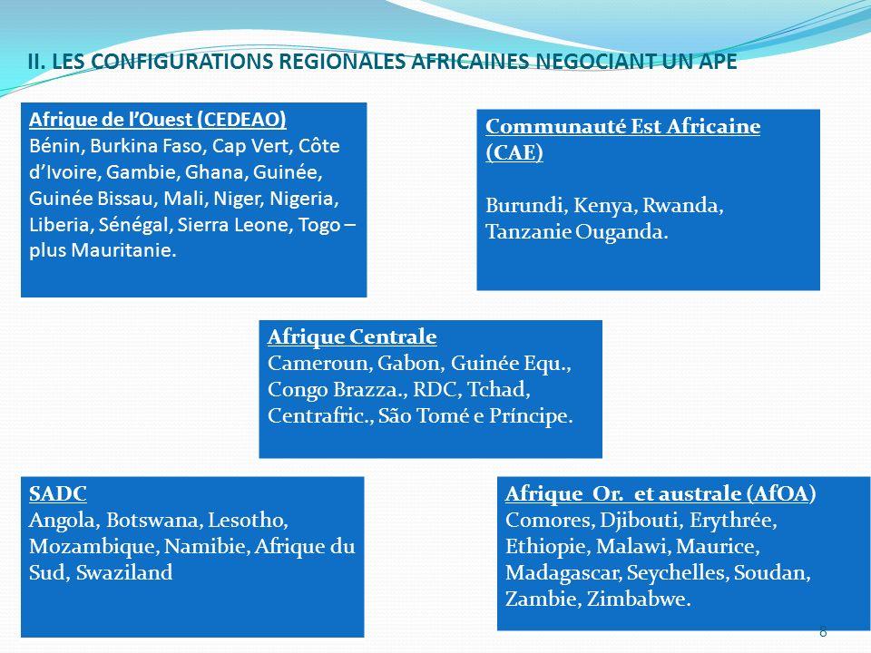 II. LES CONFIGURATIONS REGIONALES AFRICAINES NEGOCIANT UN APE Afrique de lOuest (CEDEAO) Bénin, Burkina Faso, Cap Vert, Côte dIvoire, Gambie, Ghana, G