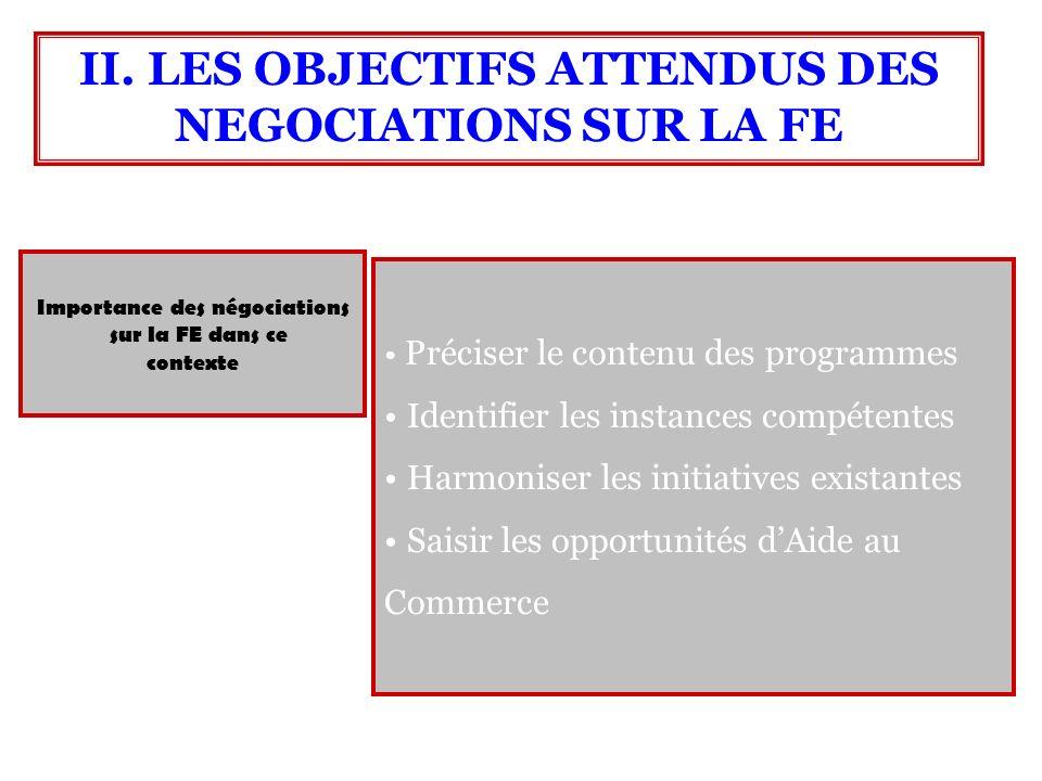 Importance des négociations sur la FE dans ce contexte II. LES OBJECTIFS ATTENDUS DES NEGOCIATIONS SUR LA FE Préciser le contenu des programmes Identi