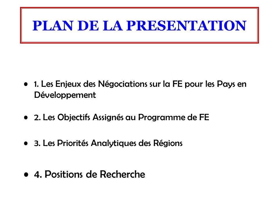 1. Les Enjeux des Négociations sur la FE pour les Pays en Développement 2. Les Objectifs Assignés au Programme de FE 3. Les Priorités Analytiques des