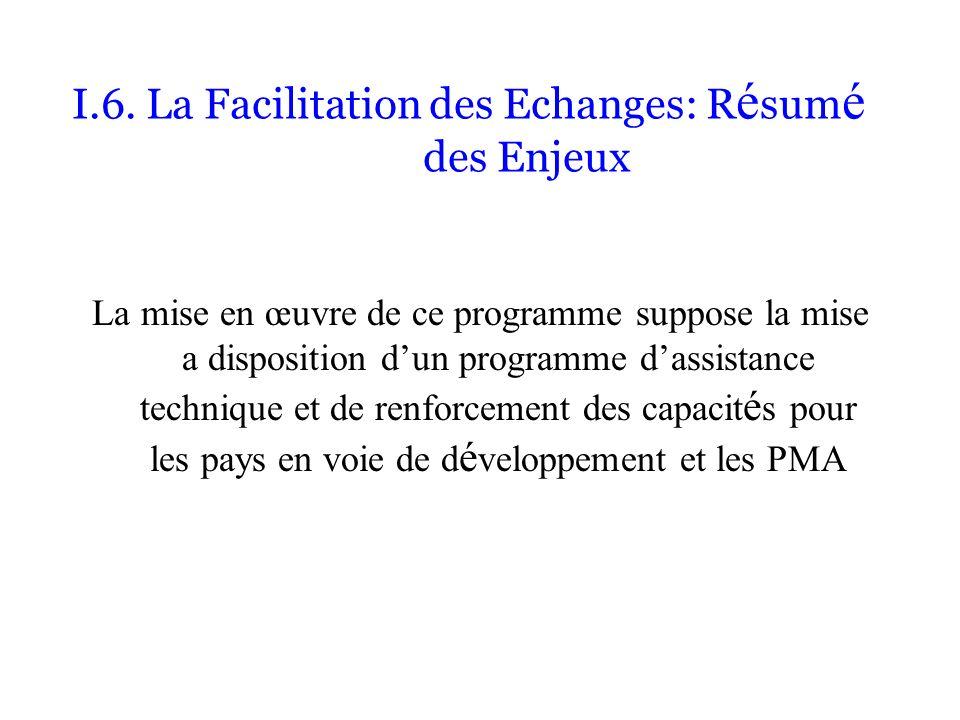 I.6. La Facilitation des Echanges: R é sum é des Enjeux La mise en œuvre de ce programme suppose la mise a disposition dun programme dassistance techn