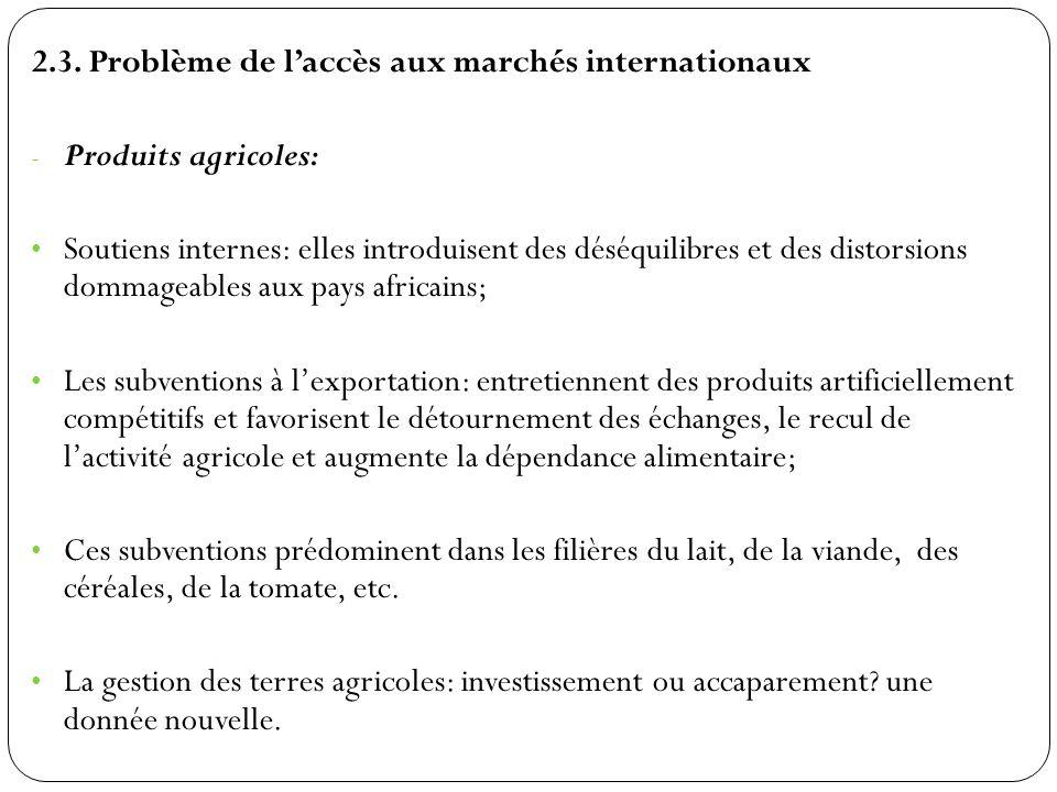 2.3. Problème de laccès aux marchés internationaux - Produits agricoles: Soutiens internes: elles introduisent des déséquilibres et des distorsions do