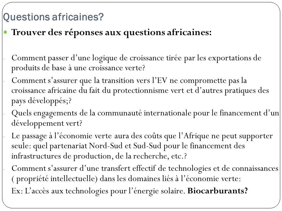 Questions africaines? Trouver des réponses aux questions africaines: - Comment passer dune logique de croissance tirée par les exportations de produit