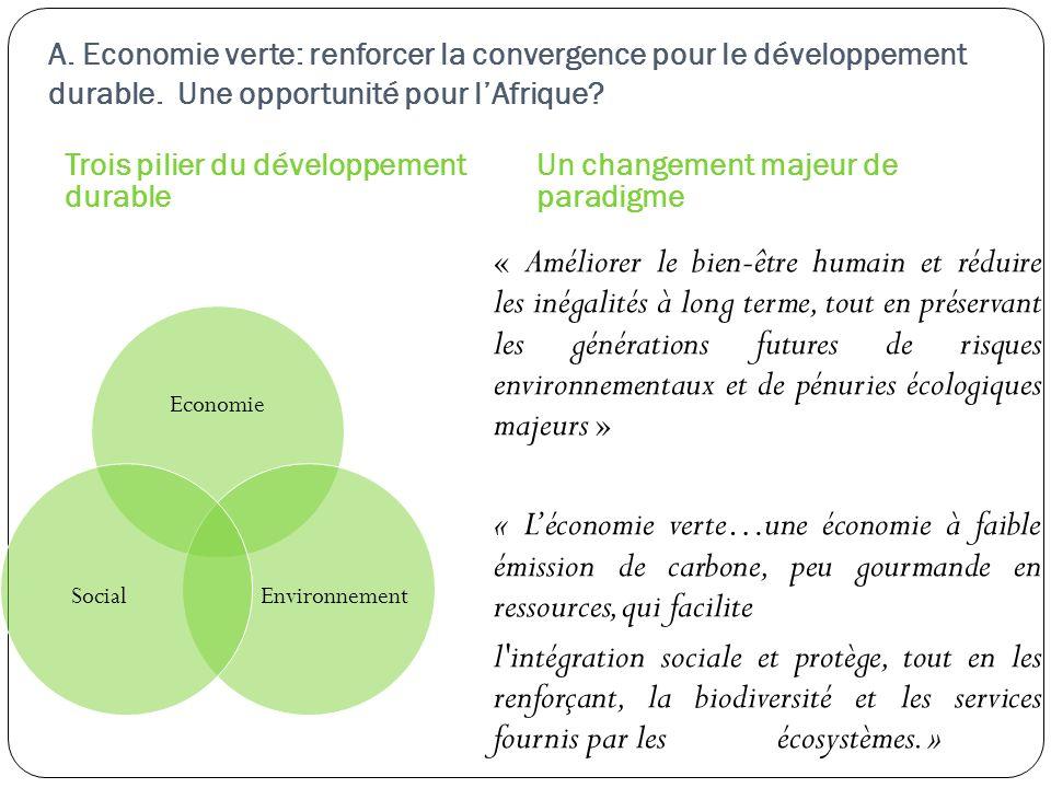A. Economie verte: renforcer la convergence pour le développement durable. Une opportunité pour lAfrique? Trois pilier du développement durable Un cha