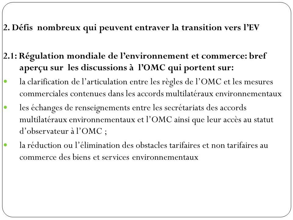 2. Défis nombreux qui peuvent entraver la transition vers lEV 2.1: Régulation mondiale de lenvironnement et commerce: bref aperçu sur les discussions
