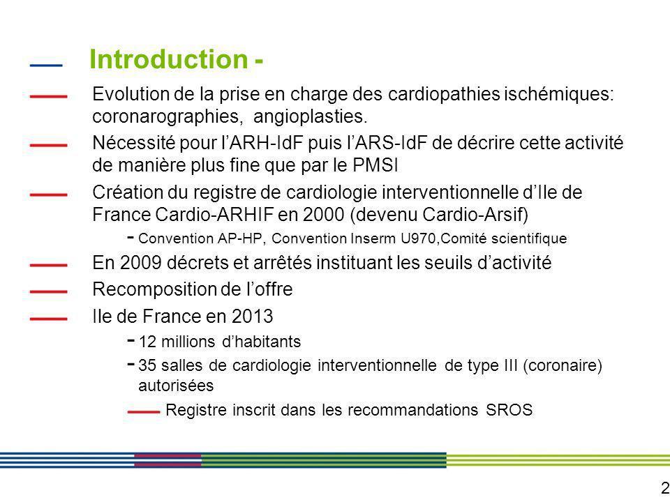 2 Introduction - Evolution de la prise en charge des cardiopathies ischémiques: coronarographies, angioplasties. Nécessité pour lARH-IdF puis lARS-IdF