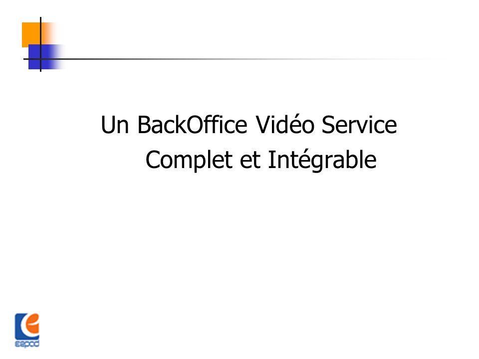 Un BackOffice Vidéo Service Complet et Intégrable