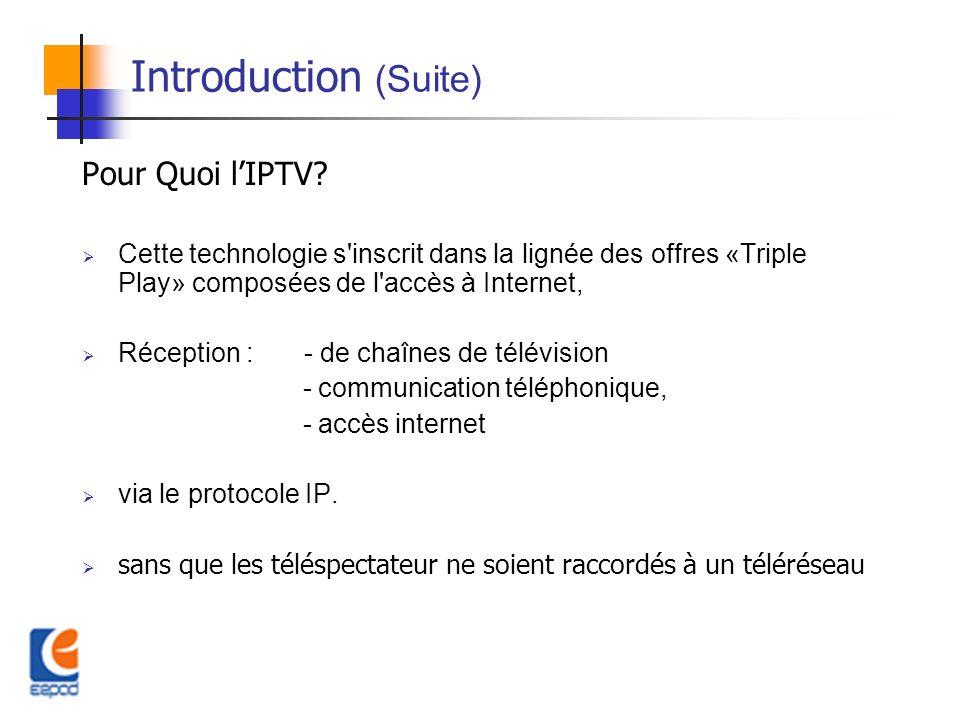Introduction (Suite) Pour Quoi lIPTV? Cette technologie s'inscrit dans la lignée des offres «Triple Play» composées de l'accès à Internet, Réception :